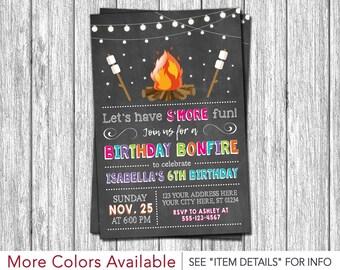 Bonfire Birthday Invitation | Backyard, Camping, S'mores Party Invitations