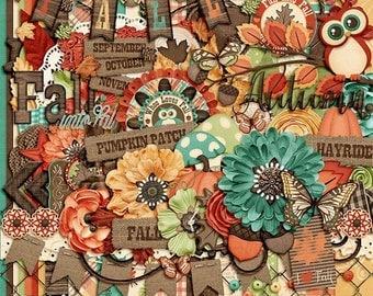 On Sale 50% Fall Into Fall, Autumn Digital Scrapbook Kit, Scrapbooking