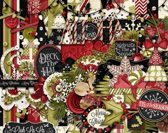 On Sale 50% Christmas, Holiday, Season, Comfort And Joy  Digital Scrapbook Kit, Scrapbooking
