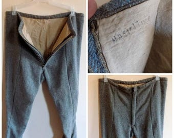 40s Boys Snow Pants, Brown, Blue, Chevron, Wool, Lined, Snowpants, 1940s, Winter Pants, Zippered Ankles, Husky, Boys W30 L29