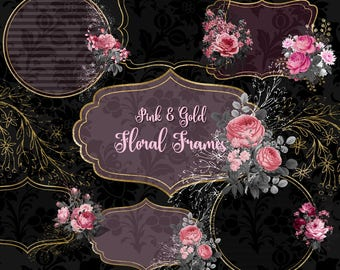 Pink and Gold Floral Frames Clip Art, digital instant download vintage png embellishments, black and pink rose, gothic rose, commercial use