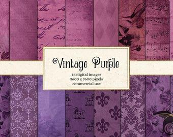 Vintage Purple Digital Paper, Purple Grunge, Floral Damask Rose, Antique Script Handwriting, Sheet Music Scrapbook Paper Instant Download