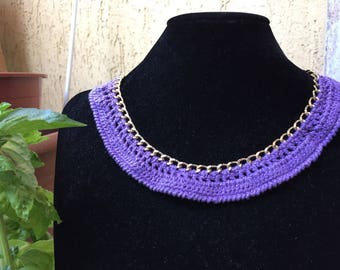 Lilac cotton necklace on gold chain