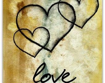 Double 'Love' original design handmade 15cm x 15cm