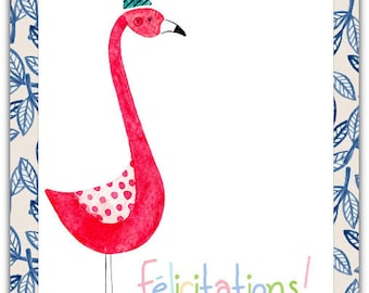 Greeting card! Congratulations - Flamingo handmade 12.5 cm x 17 cm