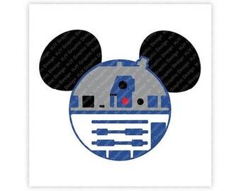 Disney, R2D2, Star Wars, Mickey, Minnie, Mouse, Ears, Head, Icon, Digital, Download, TShirt, Cut File, SVG, Iron on, Transfer