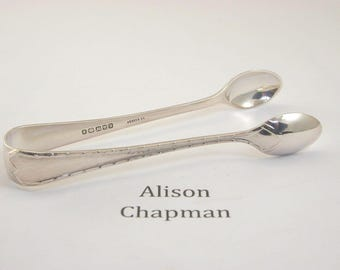 "Silver plated sugar tongs 17.8 grams ""L & WOS"""