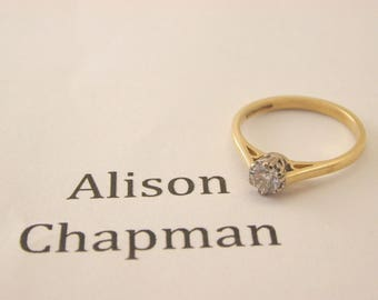 Diamond solitaire ring 18ct gold 0.37 carats SI clarity H colour certificated