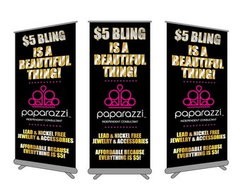 Paparazzi Full Color Retractable Printed Standing Banner Chart Sign for Womens Jewelry Booth Trade Show Vendor Exhibit Pop up