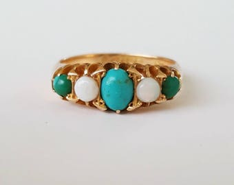 1905 Turquoise and opal ring in 18ct gold