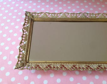 Vintage vanity mirror, mirror tray, gold filigree, rectangle mirror, filigree mirror, hollywood regency, #10