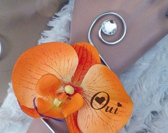 Orange and silver bracelet, diamond and aluminum Orchid artificial customize