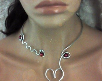 """Burgundy/silver heart""""necklace"""" in aluminum wire to customize colors to choose from"""