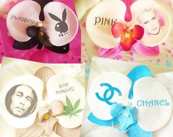 Personalized gift artificial Orchid printed with your words and photo