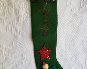 Vintage Christmas stocking personalized GEORGE
