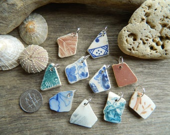 10 top drilled pottery shard pendant pieces for jewellery making with 10 mm jump rings