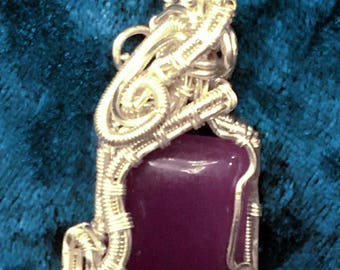 Purple Jade Stone Wrapped in Sterling Silver Wire