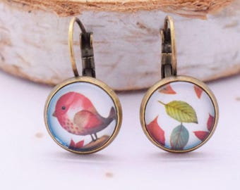 "Earrings cabochon ""cheep cheep"""