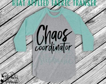 IRON ON v294 Chaos Coordinator Heat Applied T-Shirt Fabric Transfer Decal