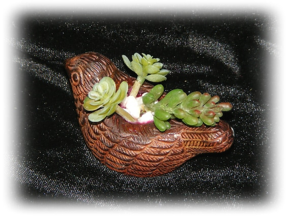 "Small Brown Ceramic Bird ""Tiny Treasure"""
