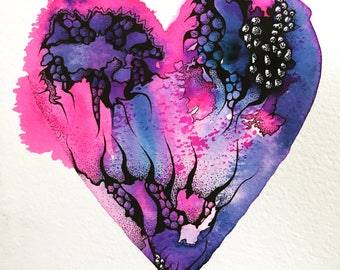 Pen and Ink heart illustration. Original and signed. Pink and purple. 18cm x 25cm Unframed .