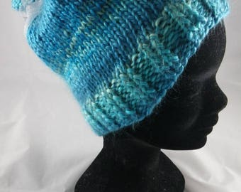 BonnetF008 - Heather Blue Hat and Ribbon