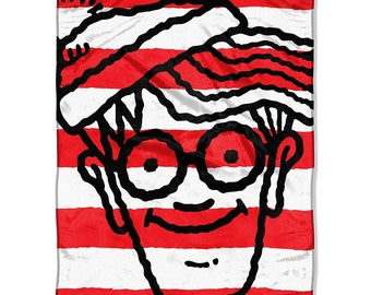 "Where's Waldo? Red, White Waldo Super Plush Throw Blanket 46"" x 60"" Personalized"