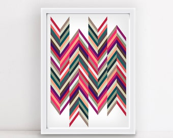 Chevron Arrow Boho Art 8x10 print PRINTABLE Instant Download