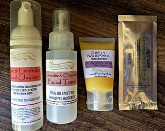 Back to the Basics Facial Kit - Facial Cleanser - Face Moisturizer - Sensitive Skin - Acne Prone Skin - Oily Skin - Facial Toner - Cleaning