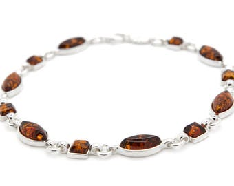 Amber Bracelet - Amber Link Bracelet - Silver Link Bracelet - Amber Jewelry - Silver Bracelet - Statement Bracelet - Modern Bracelet -242B1