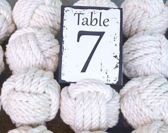 Coastal Wedding Knots cotton Rope 12 Table Number Holders for your Nautical Wedding Monkey Fist Rope Knots (w1)