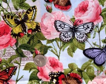 Butterfly and Roses Fabric