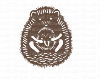 Hedgehog svg/png/dxf cricut/silhouette cutting file/animal svg/scruffy hedgehog svg/woodland svg/hedgehog baby/hedgehog and baby svg/HTV