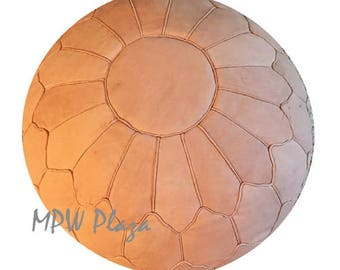 "Retro Arch Moroccan Leather Pouf 18""Hx26""D Custom"