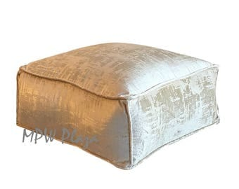 "NEW COLLECTION-Velvet  Moroccan Pouf/Ottoman (Vanilla) 9""H x 19""L x 19""W"