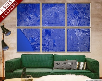 """Los Angeles map, Map of LA, in 6 colors & 8 sizes up to 108x72"""" 275x180cm, Los Angeles CA map in 1 piece or 6 parts - Limited Edition of 100"""