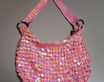 Vintage 1990's Small Pink Sequinned Sling Bling Bag with Strap Zipper Closure and small inside pocket.