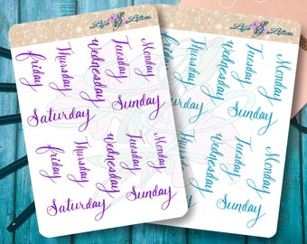 Hand Lettered Days of the Week Script Headers Planner Stickers