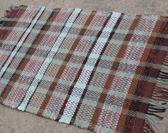 Hollywood Weave Loom Woven Rag Rug, Brown Kitchen Rag Rug, Bath Mat, RV Decor Rag Carpet, Throw Rug, Washable Chindi Rug, Door Mat, Pet Rug