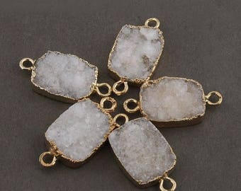 June Clearance Sale 5 Pcs White Agate Druzy Drusy Druzzy Slice Electroplated 24K Gold Edge Double Bail Connector 21mmx15mm Drz1659