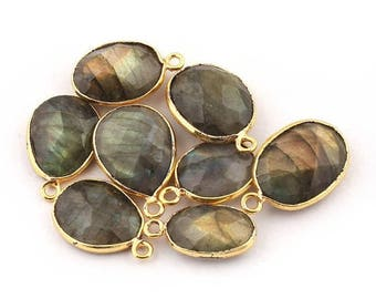 Valentine Day 8 PCS  Labradorite 24k Gold Plated Single Bail Pendant - Labradorite Oval Faceted Pendant 18x12mm-21x13mm Bc844