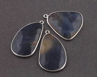 VALENTINE DAY SALE 3 Pcs Blue Sapphire 925 Sterling Silver Faceted Single Bail Pendant - 27mmx23mm-32mmx18mm Ss1675