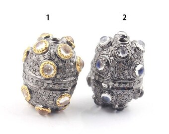 March Sale 1 piece Pave Diamond 925 Sterling Silver And Vermeil Rainbow Moonstone Oval Beads 20mmx15mm (YOU CHOOSE) PDC669