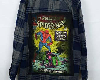 Upcycled Flannel with Spiderman