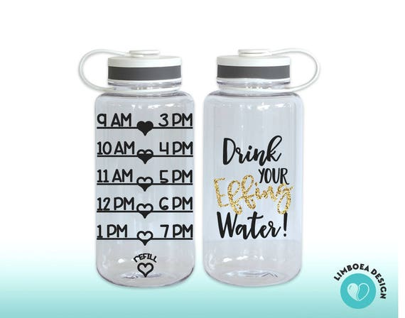 Quote Water Bottle with Water Intake Chart Cute Water Bottle