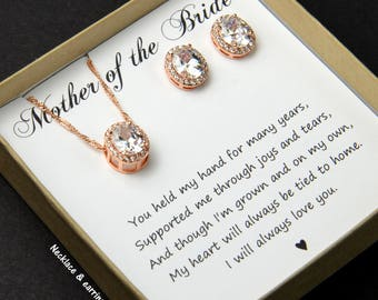 Mother of the Bride Groom gift  Rose Gold Wedding jewelry Oval Crystal Bridal bridesmaid earrings bridesmaid jewelry set  bridesmaid gifts