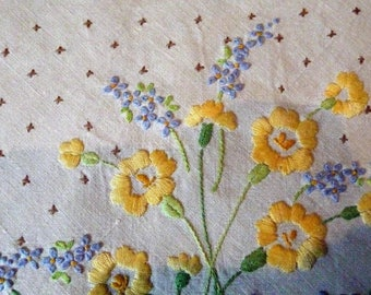 "Hand Made Vintage Tablecloth Embroidered Linen Primroses  Forget-Me-Nots Daisies 51"" sq."