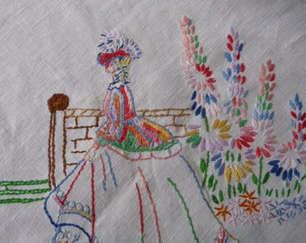 "Hand Made Embroidered Tablecloth Vintage Linen  'Crinoline Ladies' 41"" x 43"""