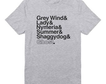 Game of Thrones Houses Shirts Grey Wind Lady Nymeria Summer Shaddy Dog Ghost Shirt Family Gifts Funny Graphic Tumblr Shirt Men Shirt Women