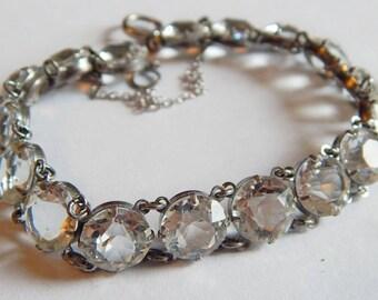 Antique STERLING European cut Crystal CZ Large stone Sparkling Vintage bracelet